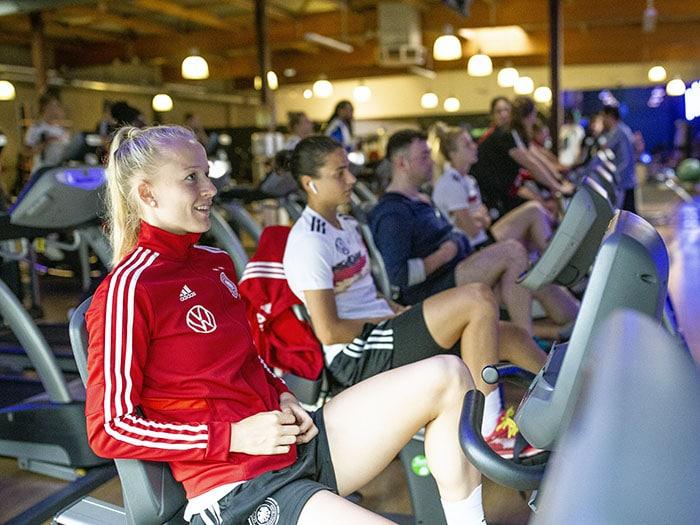 Lea Schueller lors d'un entraînement cardio